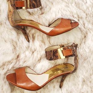 Michael Kors gold accent animal print heel